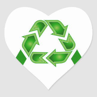 Recycle symbol made like letter A Heart Sticker