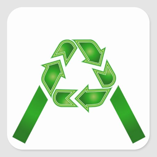 Recycle symbol made like letter A Square Sticker