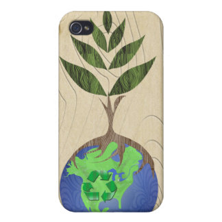 Recycle Tree Earth Globe Wood Grain iPhone Case iPhone 4 Case