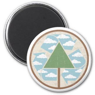 Recycle Tree & Sky 6 Cm Round Magnet