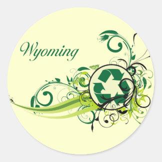 Recycle Wyoming Round Sticker