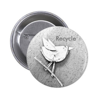 Recycled Bird 6 Cm Round Badge