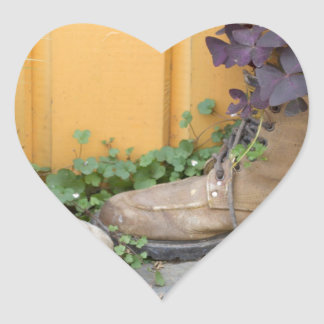 Recycled Boots Make Good Planters Heart Stickers