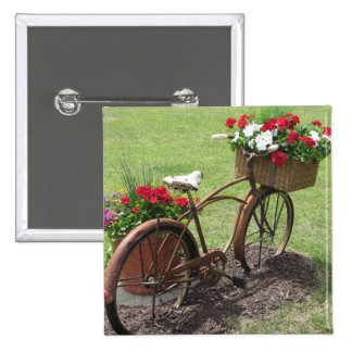 recycled flower bicycle 15 cm square badge