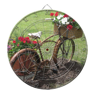 recycled flower bicycle dartboard