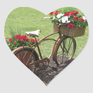 recycled flower bicycle heart sticker