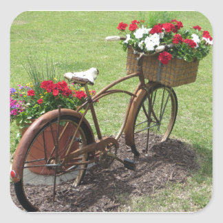recycled flower bicycle square sticker