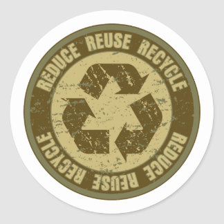 Recycled Grunge Classic Round Sticker