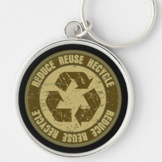 Recycled Grunge Silver-Colored Round Key Ring