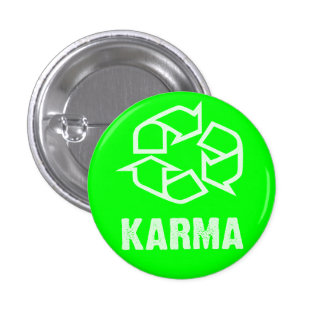 recycled karma 3 cm round badge