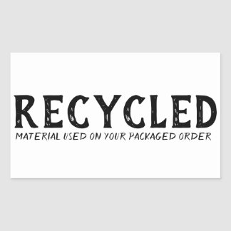 Recycled Material Used Repurpose Shipping Rectangular Sticker