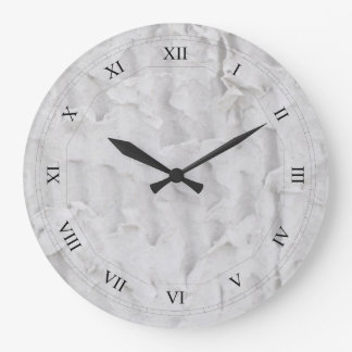 Recycled Paper Texture with Roman Numerals Large Clock