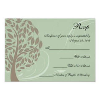 Recycled Sage Green/Brown Stylised Eco Tree RSVP 9 Cm X 13 Cm Invitation Card