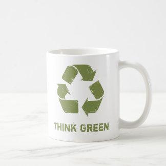 RecycleLogo, Think Green Basic White Mug