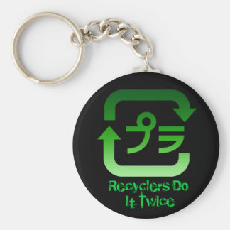 Recyclers Do It Twice Basic Round Button Key Ring