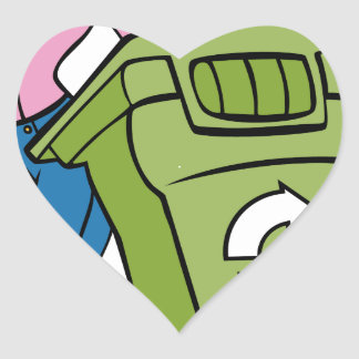 Recycling Bin Trashcan Woman Heart Sticker
