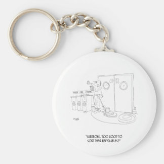 Recycling Cartoon 9265 Basic Round Button Key Ring