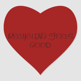 RECYCLING FEELS GOOD HEART STICKER