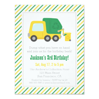 Recycling Garbage Truck Theme Boys Birthday Party 11 Cm X 14 Cm Invitation Card