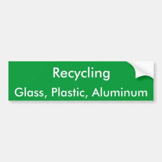 Recycling, Glass, Plastic, Aluminum Bumper Sticker