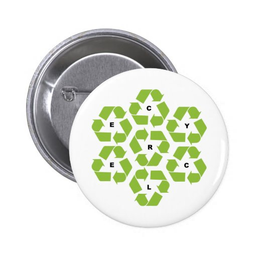 Recycling logos pinback buttons