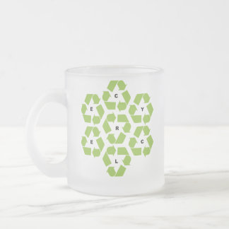 Recycling logos frosted glass mug