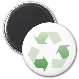Recycling sign 6 cm round magnet