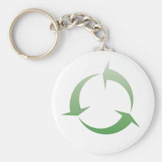 Recycling sign basic round button key ring