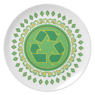 Recycling Sign Medallion Dinner Plates