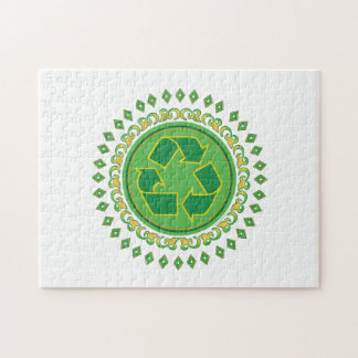 Recycling Sign Medallion Jigsaw Puzzles