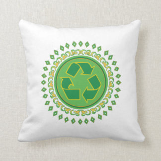 Recycling Sign Medallion Throw Pillow