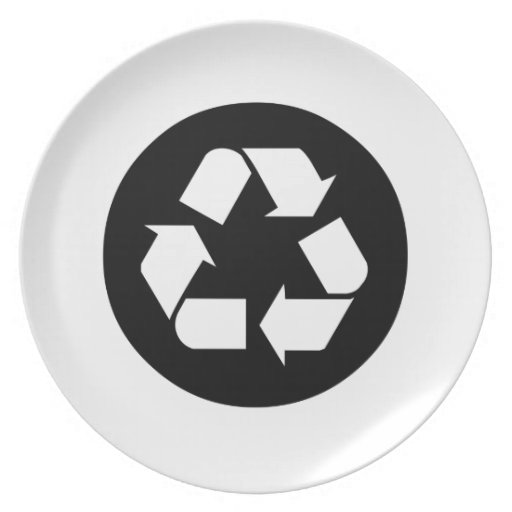 Recycling Sign Dinner Plates