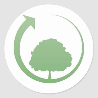 Recycling sign round sticker