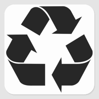 Recycling Symbol - Black Square Sticker
