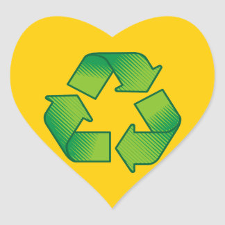 Recycling symbol heart sticker