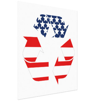 Recycling Symbol - Red White & Blue Stretched Canvas Print
