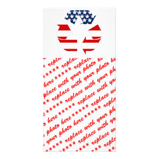 Recycling Symbol - Red White & Blue Personalized Photo Card