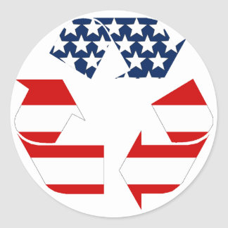 Recycling Symbol - Red White & Blue Round Sticker