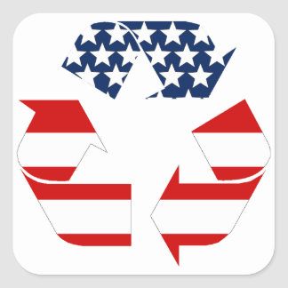 Recycling Symbol - Red White & Blue Square Sticker