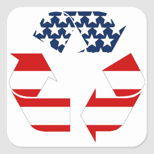 Recycling Symbol - Red White & Blue Stickers
