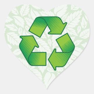 Recycling symbol heart sticker