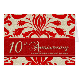Red 10th Anniversary Business Greeting Card