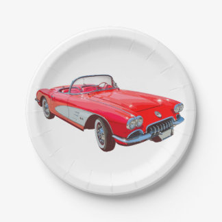 Red 1958 Corvette Convertible Classic Car 7 Inch Paper Plate