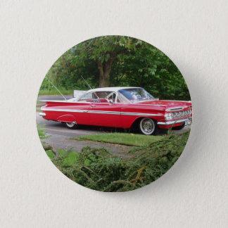red 1960 impala 6 cm round badge