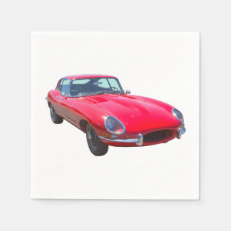 Red 1964 Jaguar XKE Antique Sports Car Disposable Napkin
