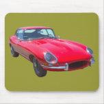 Red 1964 Jaguar XKE Antique Sports Car Mouse Pads