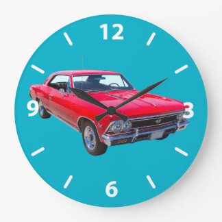 Red 1966 Chevy Chevelle SS 396 Large Clock