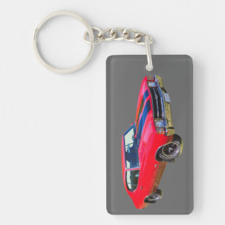 Red 1971 Chevrolet Chevelle SS Muscle Car Double-Sided Rectangular Acrylic Key Ring