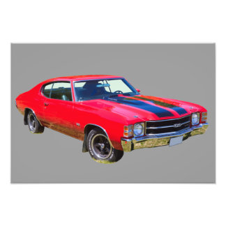 Red 1971 Chevrolet Chevelle SS Muscle Car Photo Print