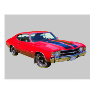 Red 1971 Chevrolet Chevelle SS Muscle Car Postcard